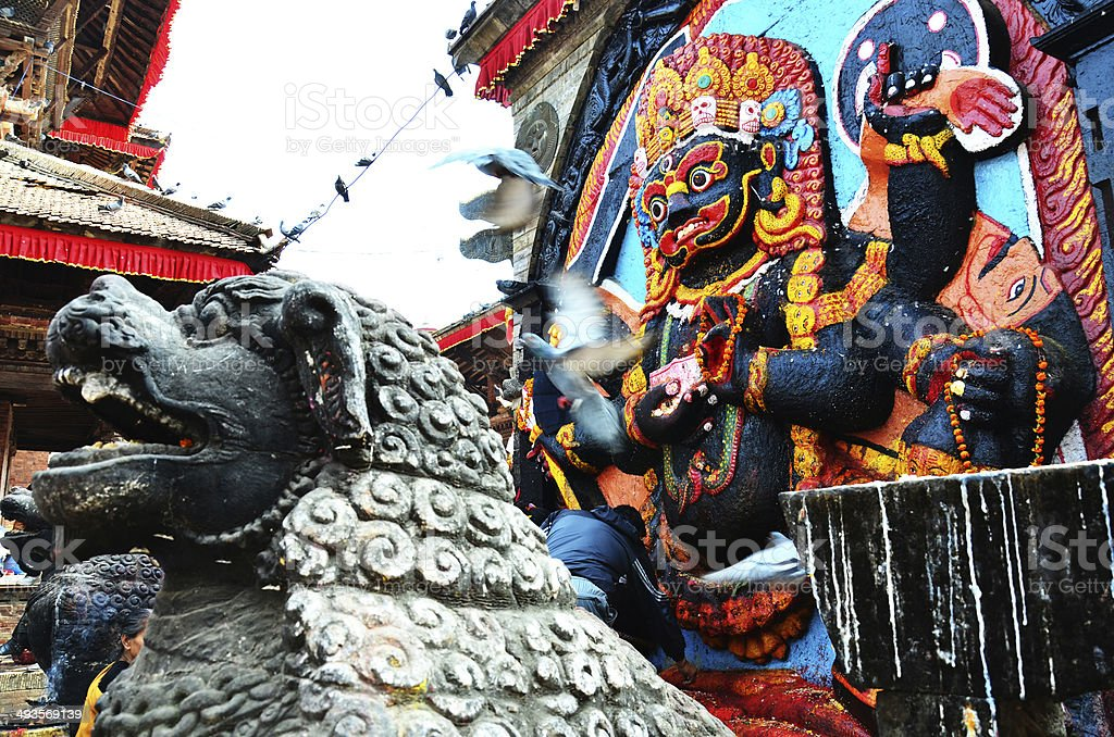 Kaal Bhairav in Basantapur Durbar Square at Kathmandu Nepal stock photo