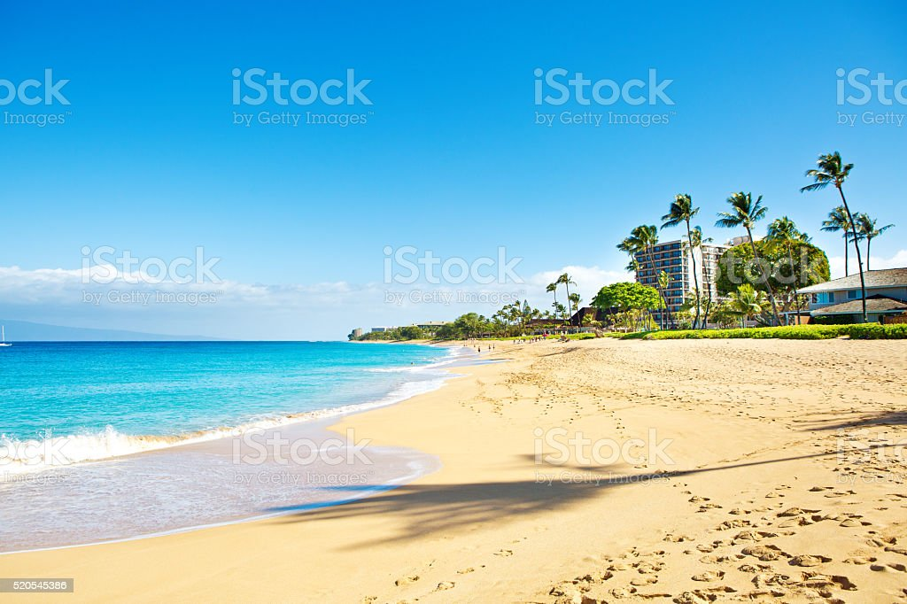 Kaanapali Beach and resort Hotels on Maui Hawaii stock photo