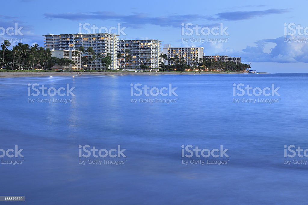 Kaanapali Beach at Night stock photo