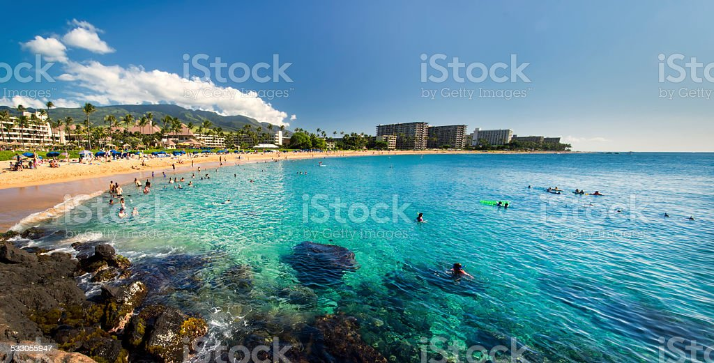 Kaanapali Beach from Black Rock, Maui, Hawaii stock photo