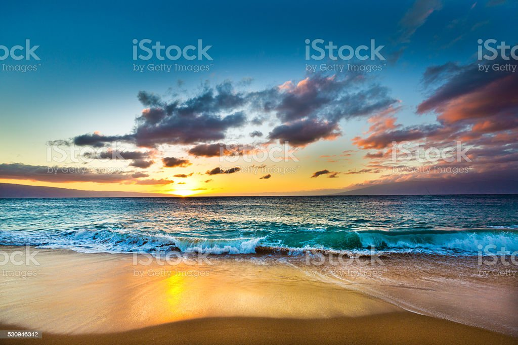 Kaanapali Beach on West Shore of Maui Hawaii at Sunset stock photo
