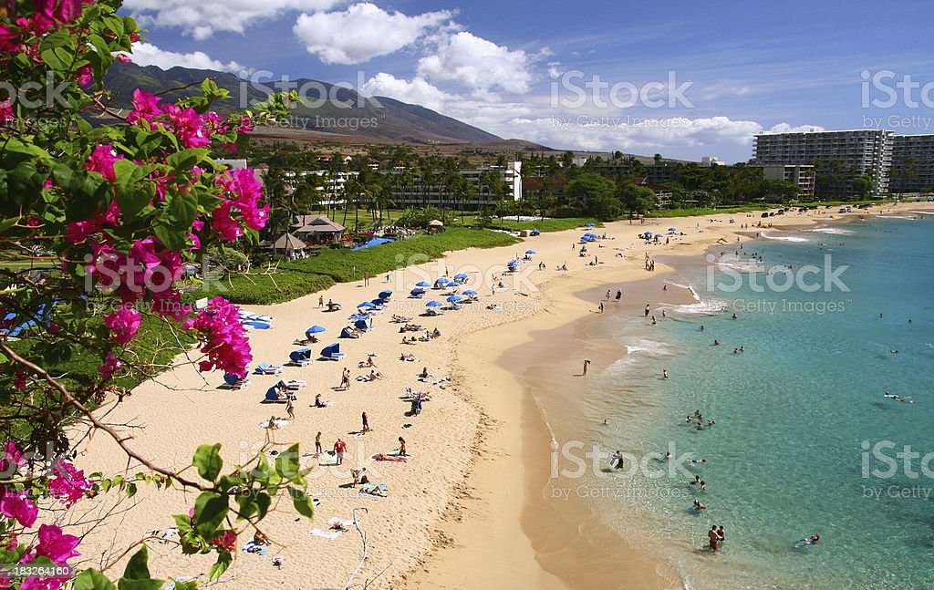 Kaanapali Maui Hawaii Beach ocean front resort hotel and flowers stock photo