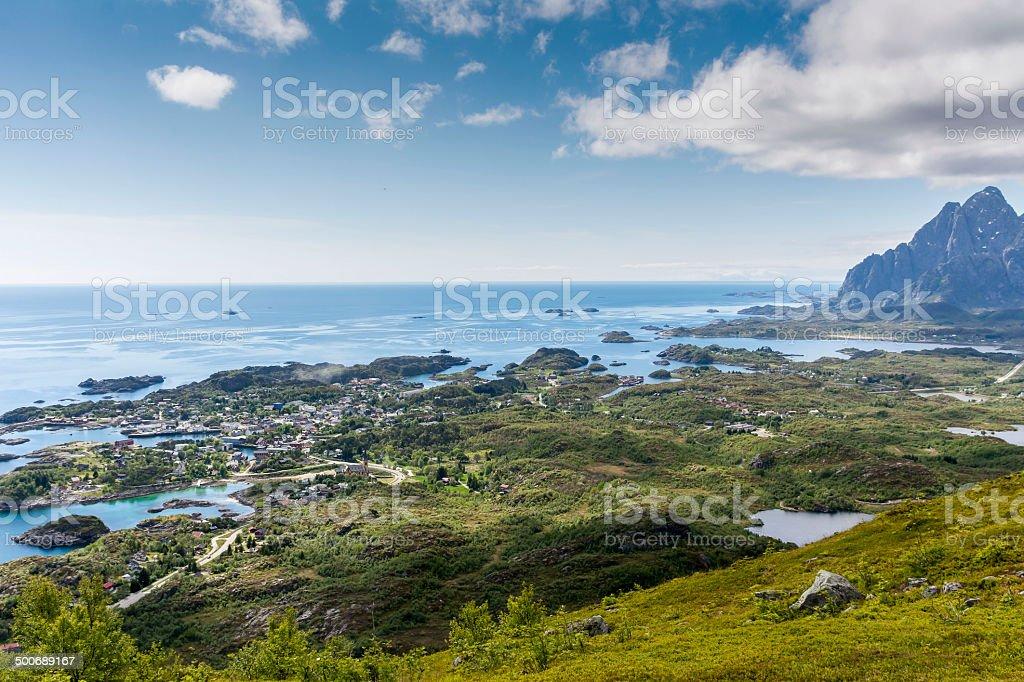 Kabelvag panorama of Lofoten stock photo