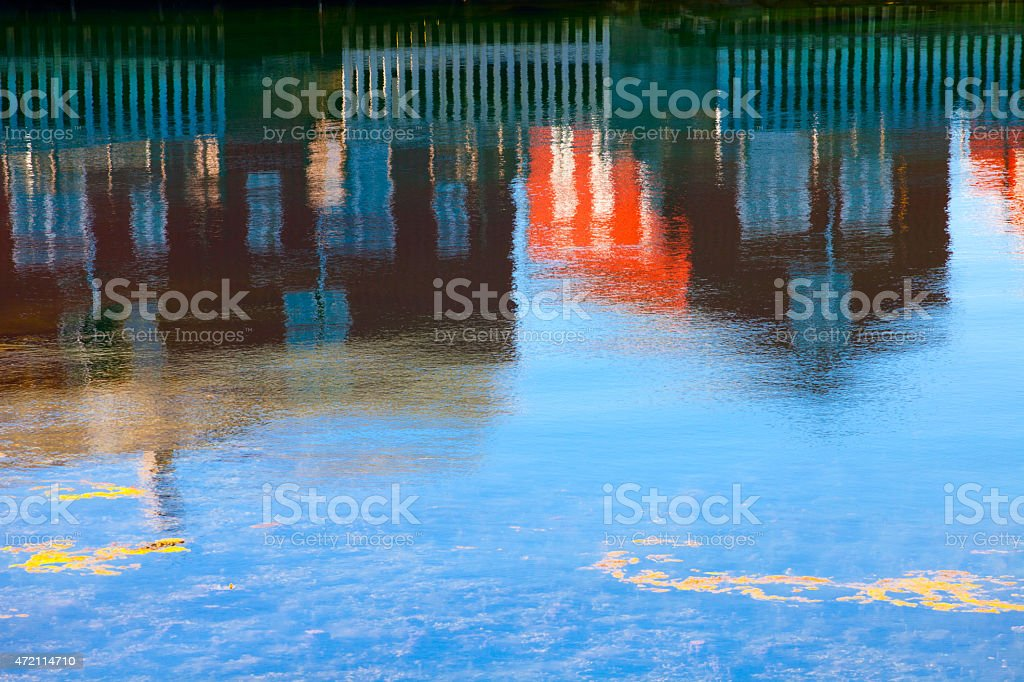 Kabelvag, reflection of houses stock photo