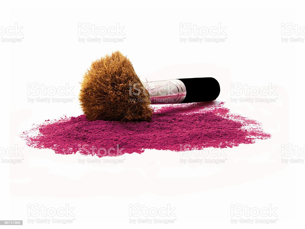kabuki brush in burgundy mineral make-up Isolated stock photo
