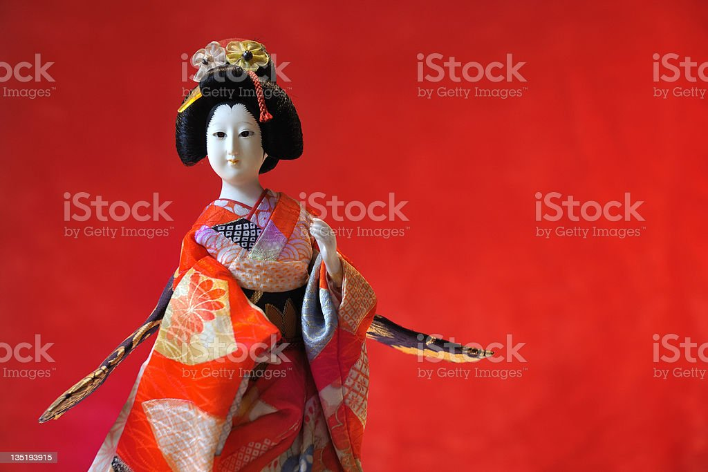 kabuki theatre Japanese doll stock photo