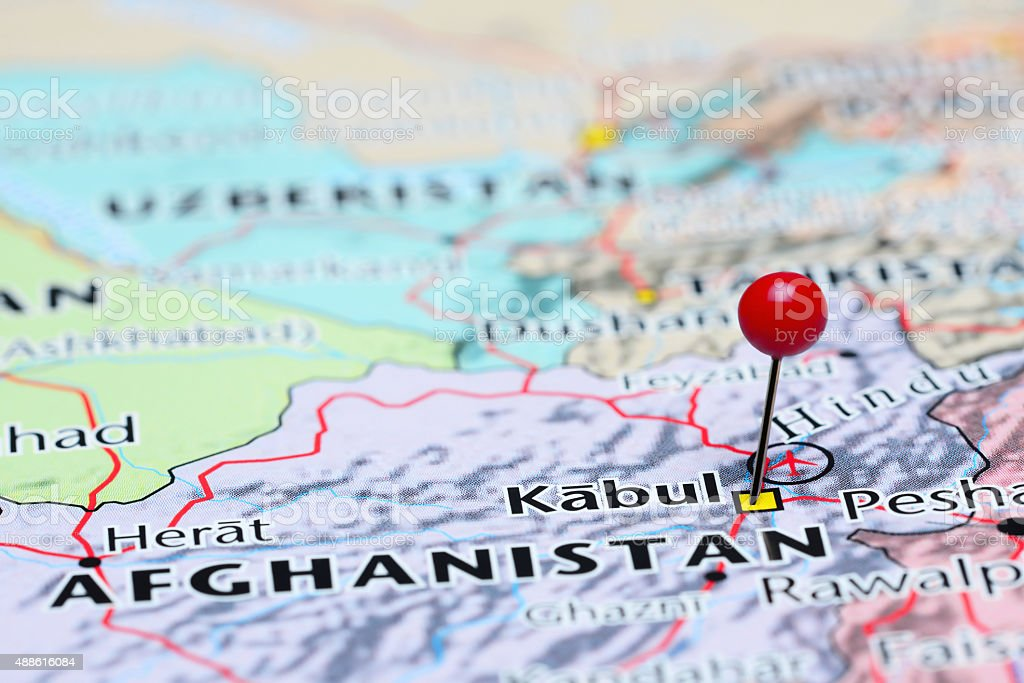 Kabul pinned on a map of Asia stock photo
