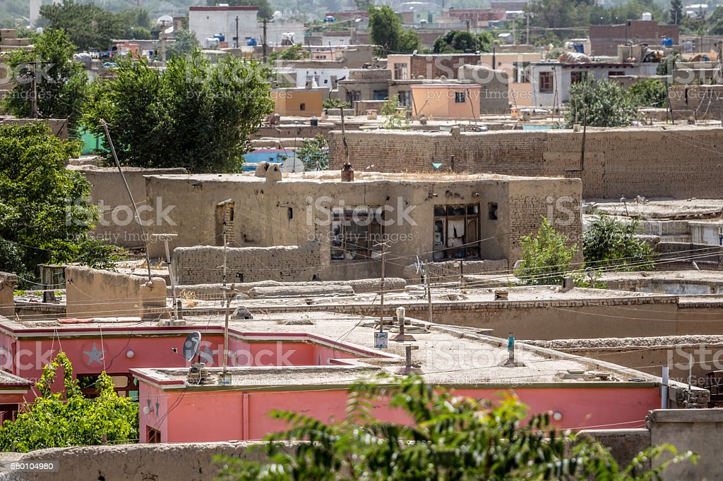 Kabul roofs stock photo