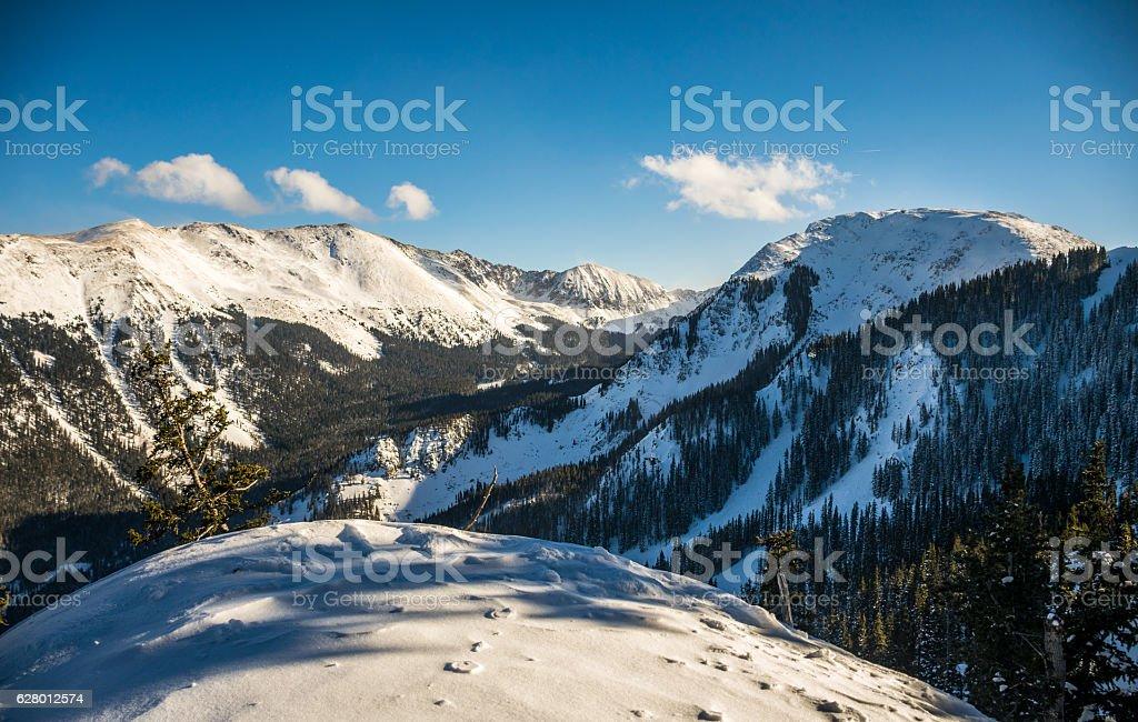 Kachina Peak Snow Covered Overlook Taos Valley stock photo