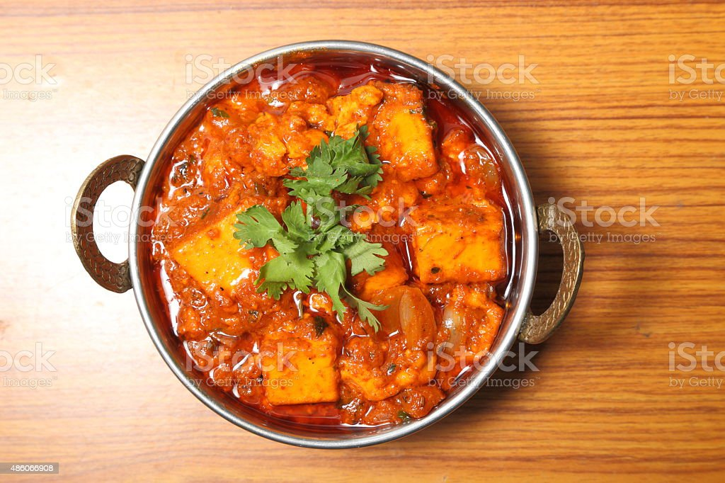 INDIAN STYLE COTTAGE CHEESE VEGETARIAN CURRY DISH. Kadai Paneer. stock photo