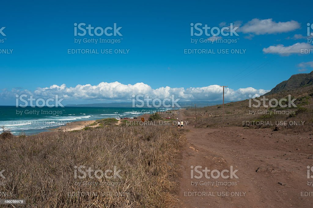 Kaena Point is the westernmost land on Oahu. stock photo