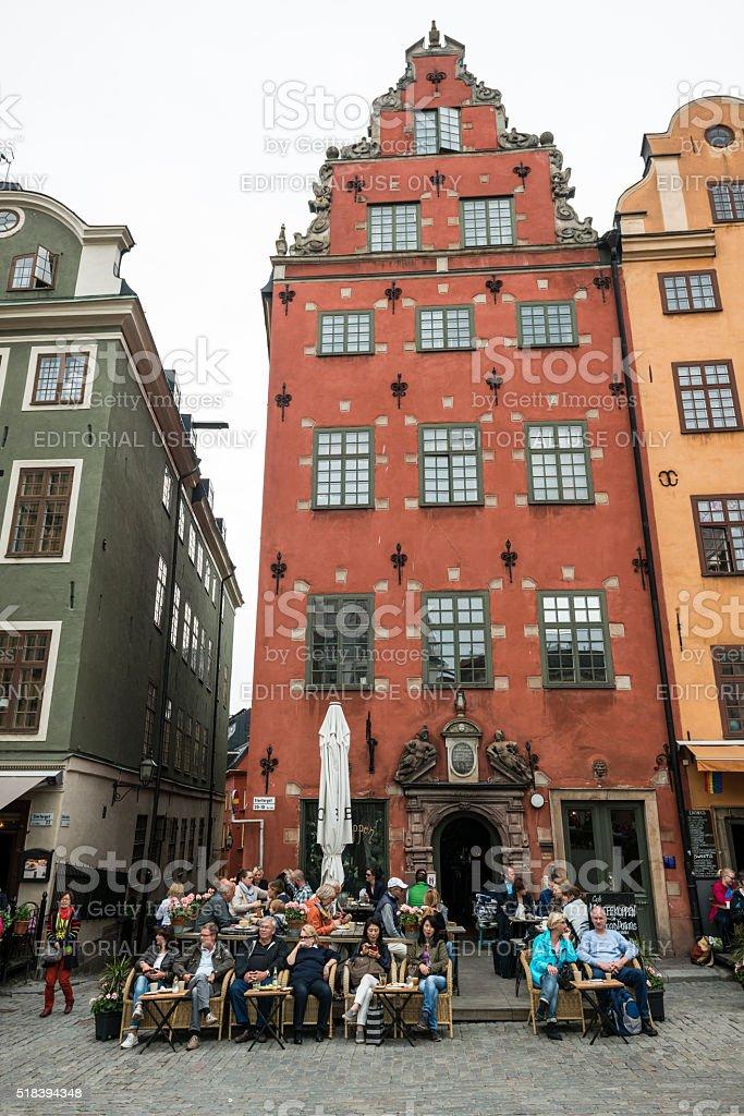 Kaffekoppen in Stortorget Square, Stockholm, Sweden stock photo