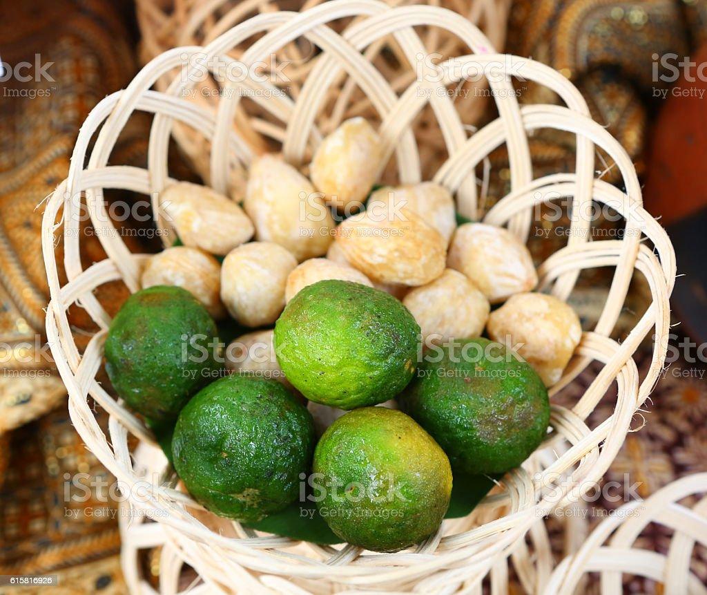 Kaffir Lime in bamboo basket stock photo