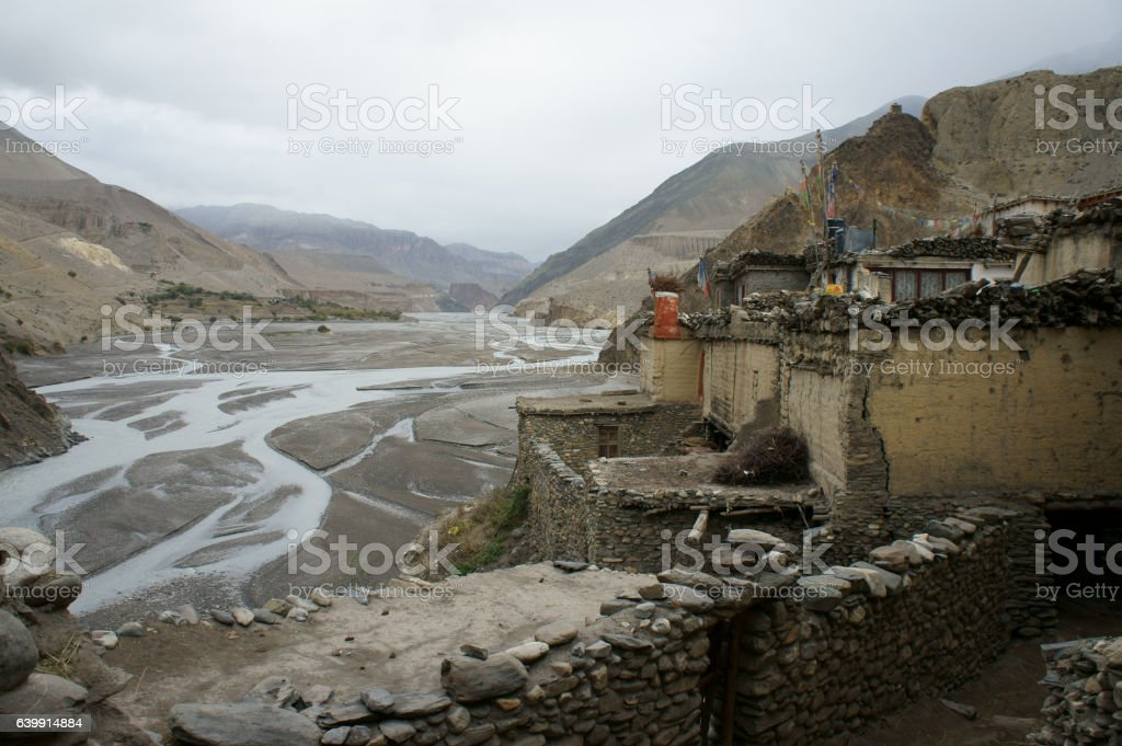 Kagbeni village  and Kali Gandaki Nadi river valley stock photo