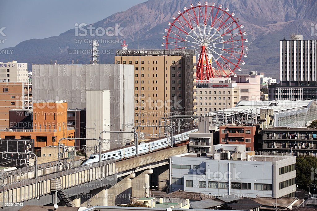 Kagoshima city and Sakurajima active volcano stock photo