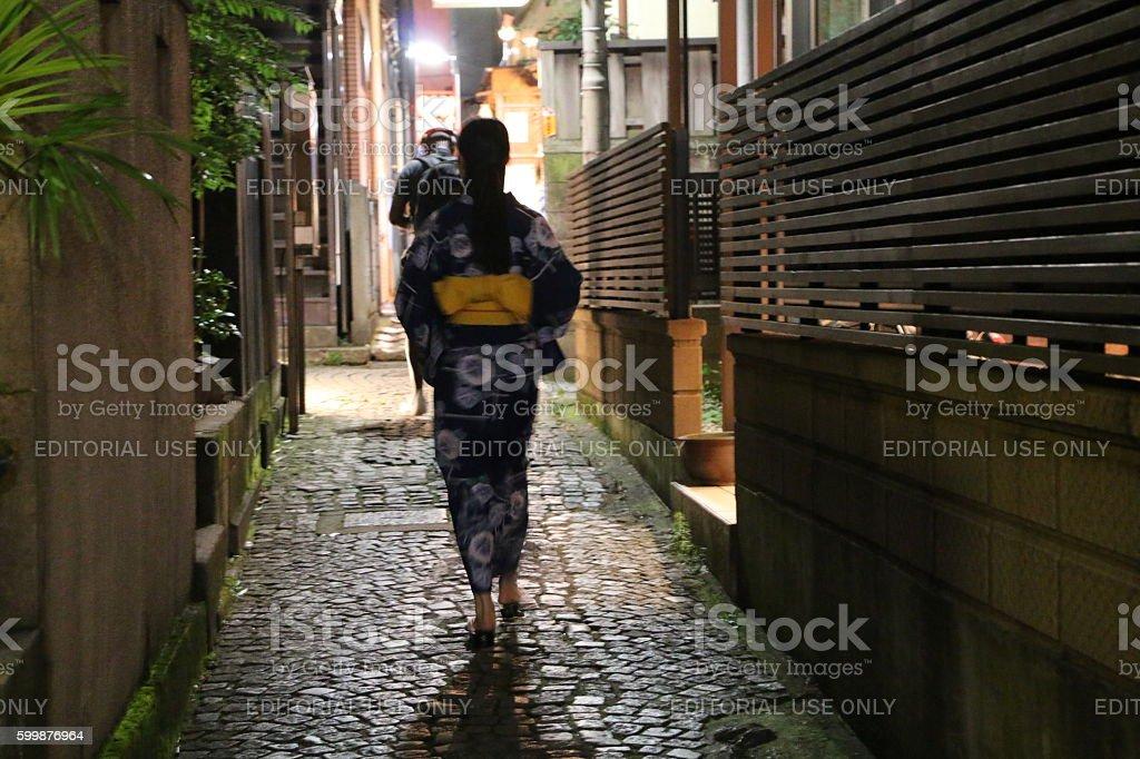 Kagurazaka Back alley stock photo