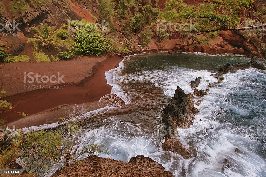 Kaihalulu red sand beach royalty-free stock photo