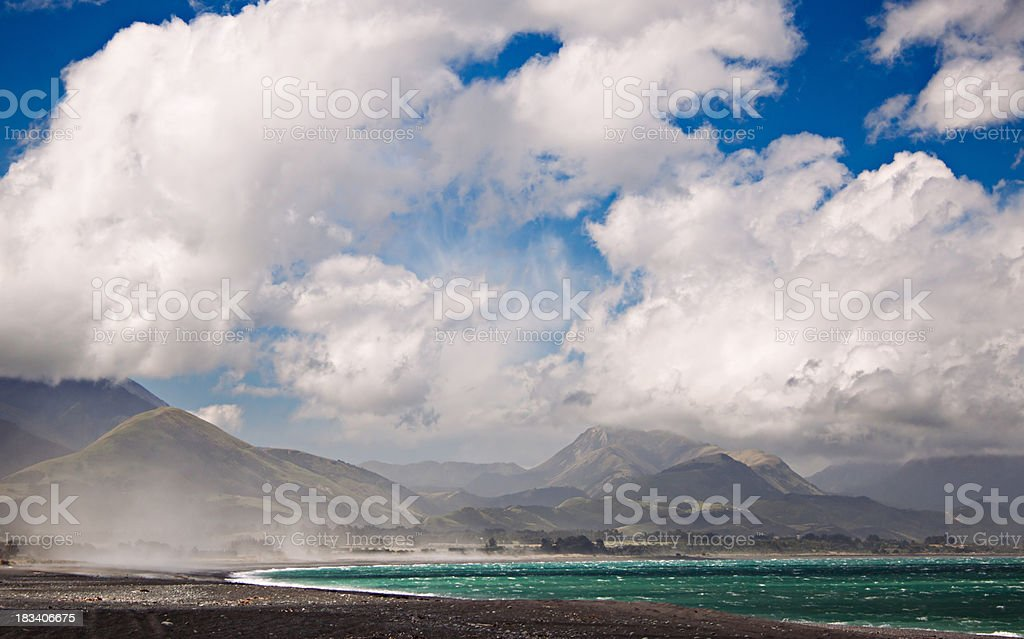 Kaikoura Beach and Hills royalty-free stock photo