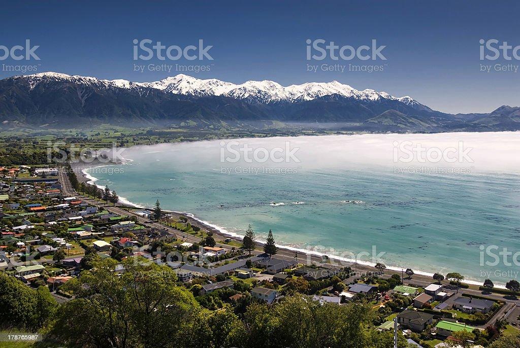 Kaikoura township, New Zealand in morning sea fog stock photo