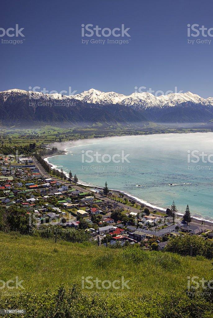 Kaikoura township with morning sea fog. South Island,New Zealand stock photo