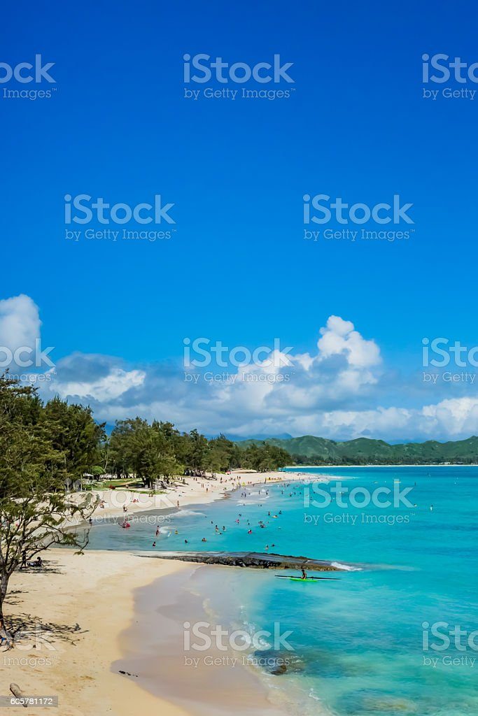 Kailua bay in Oahu Island stock photo