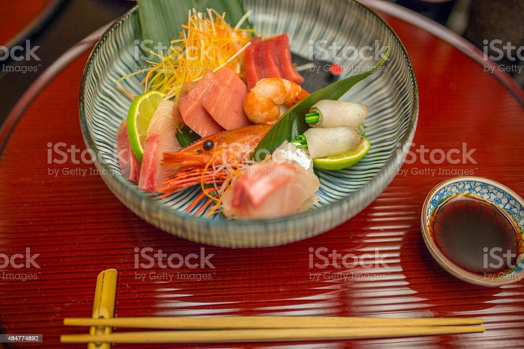 Kaiseki dinner course with sashimi stock photo