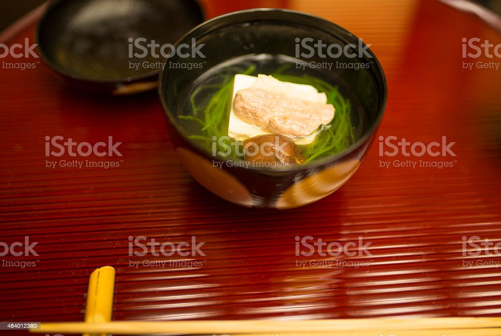 Kaiseki Meal. Japanese clear Duck soup. Close Up View. stock photo