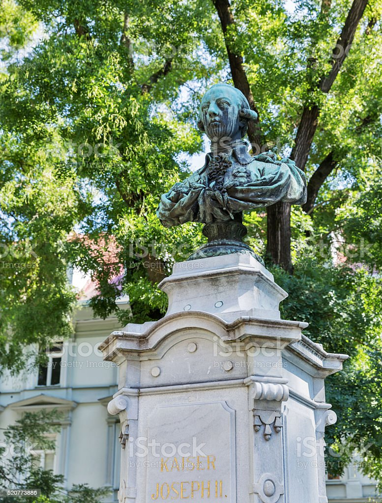 Kaiser Joseph II statue in park, Graz, Austria stock photo