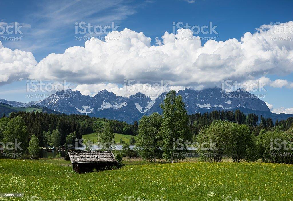 Kaiser mountain range in Austria stock photo