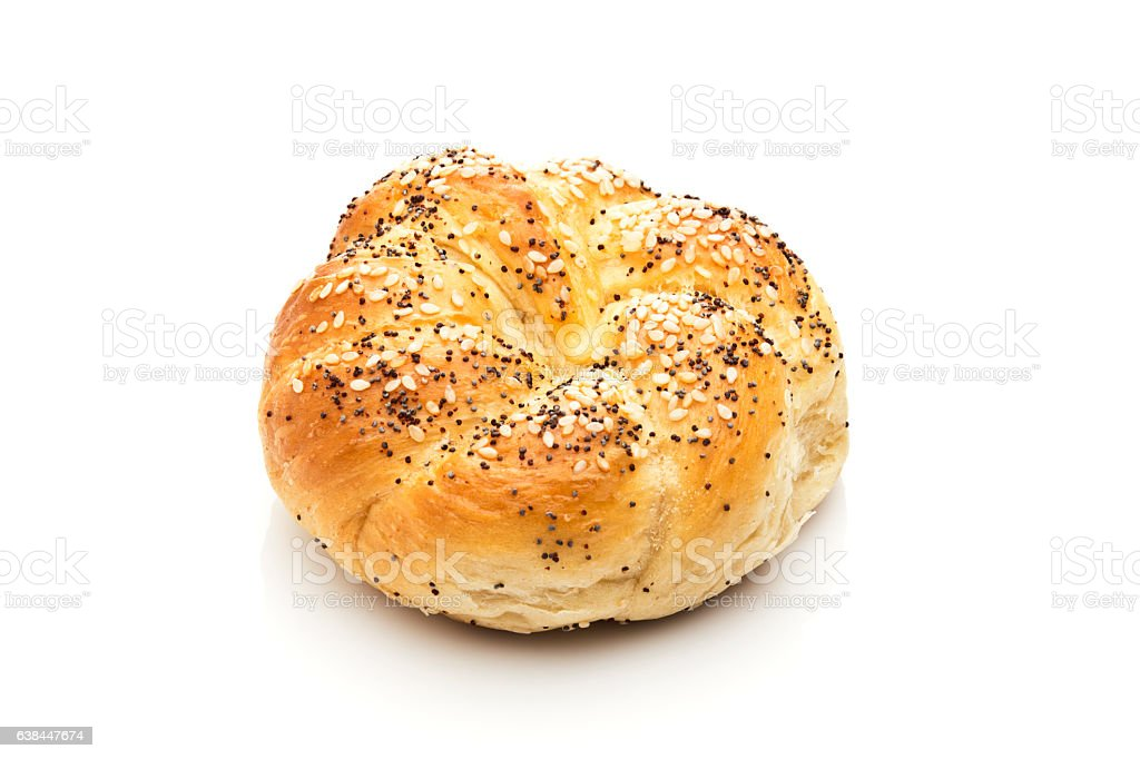Kaiser roll isolated on white background stock photo