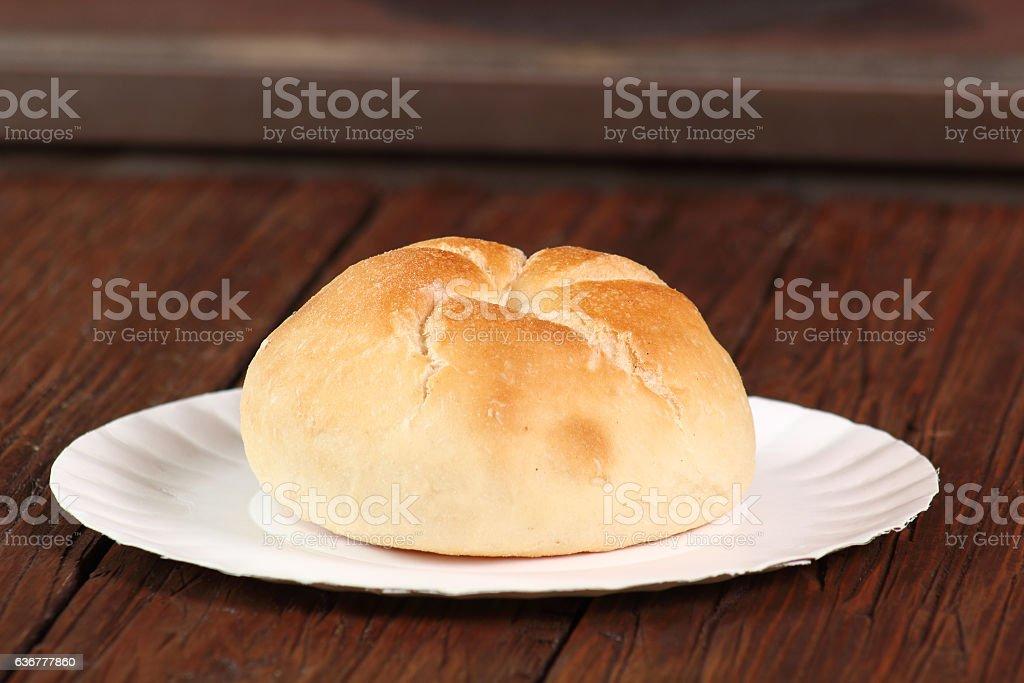 Kaiser roll on paper plate stock photo