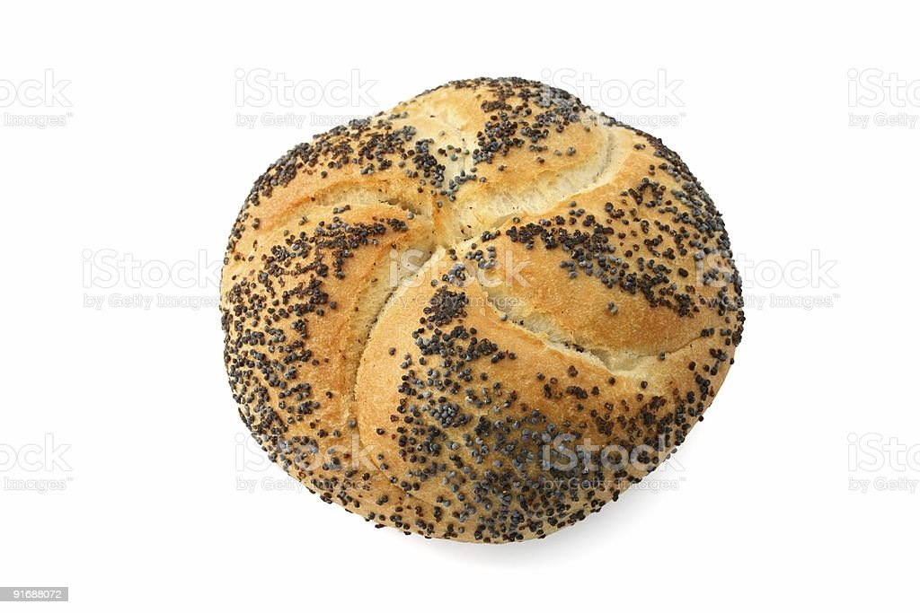Kaiser roll with poppy seed stock photo