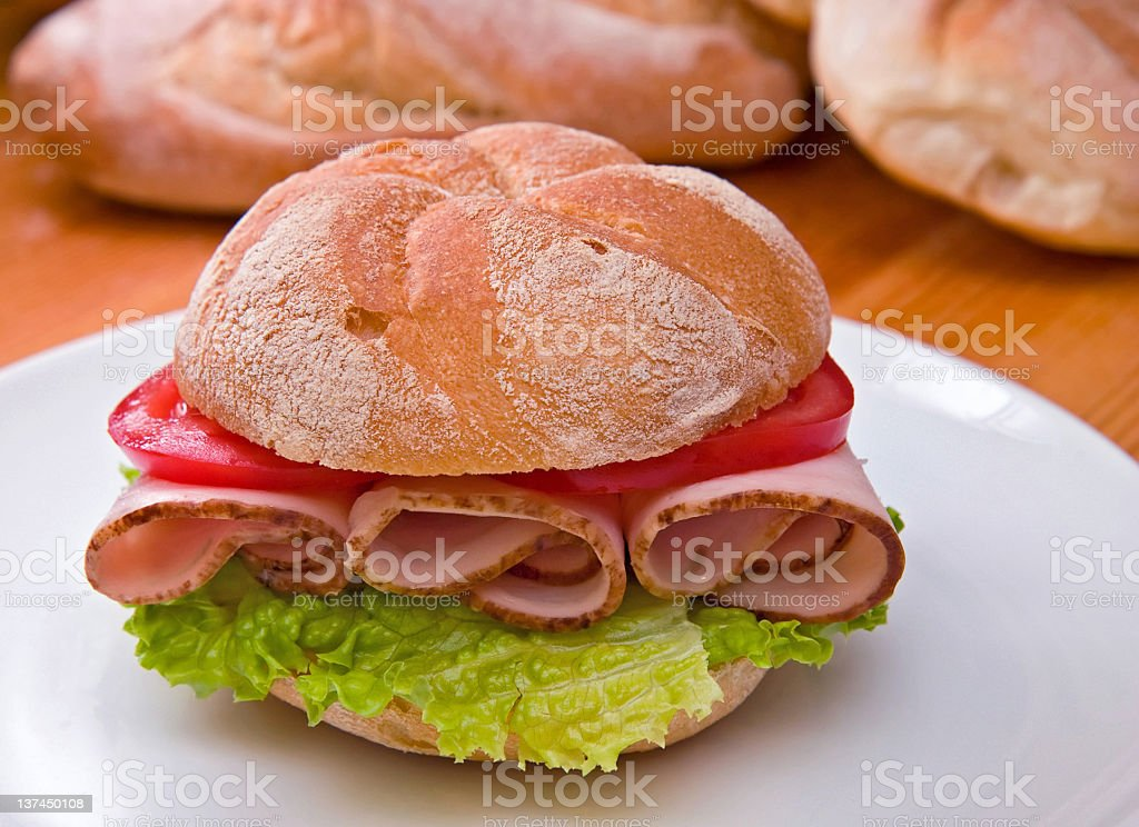 Kaiser roll with turkey/chicken breast stock photo