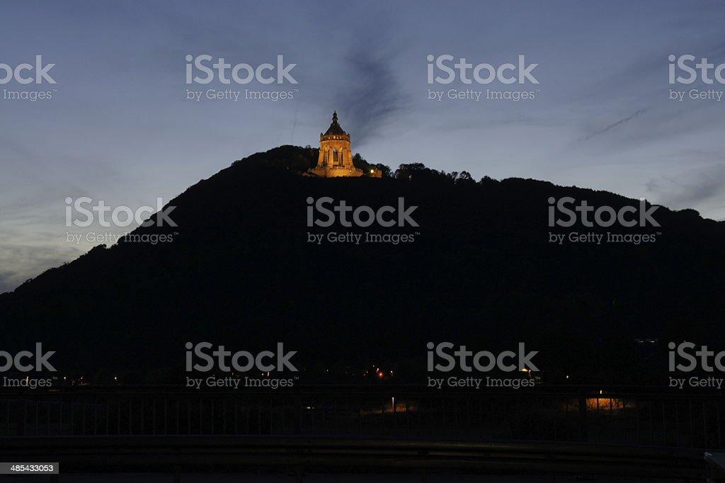 Kaiser Wilhelm Monument (Porta Westfalica) at night stock photo
