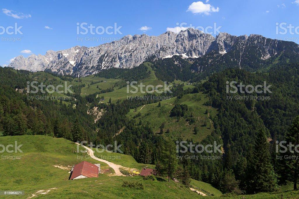 Kaisertal and Wild Kaiser stock photo