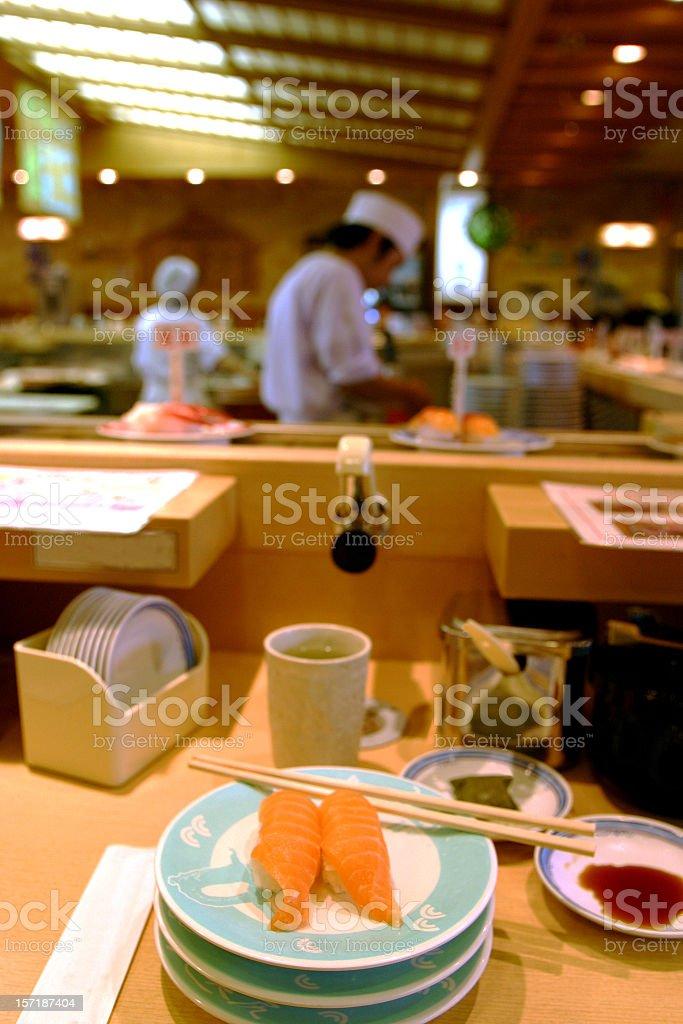 Kaiten sushi restaurant royalty-free stock photo