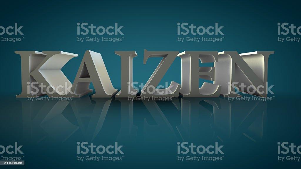 Kaizen 3d text sign stock photo