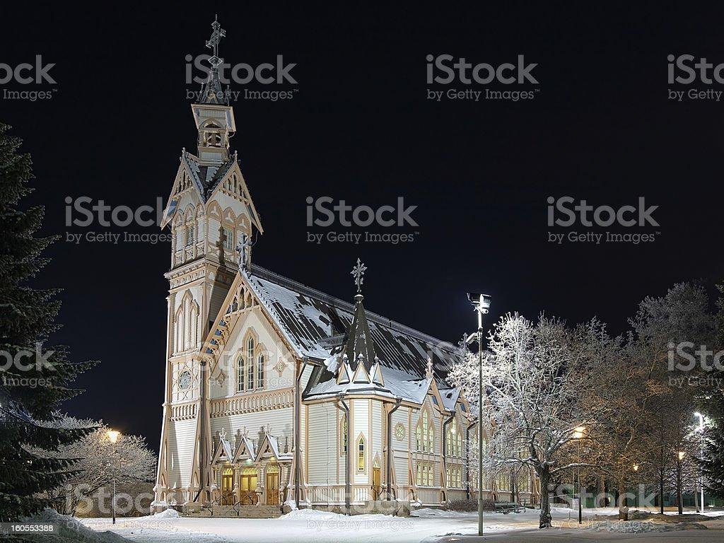 Kajaani Church in winter night, Finland royalty-free stock photo