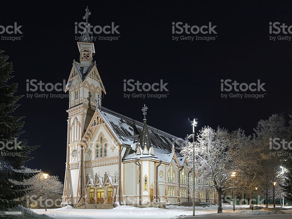 Kajaani Church in winter night, Finland stock photo