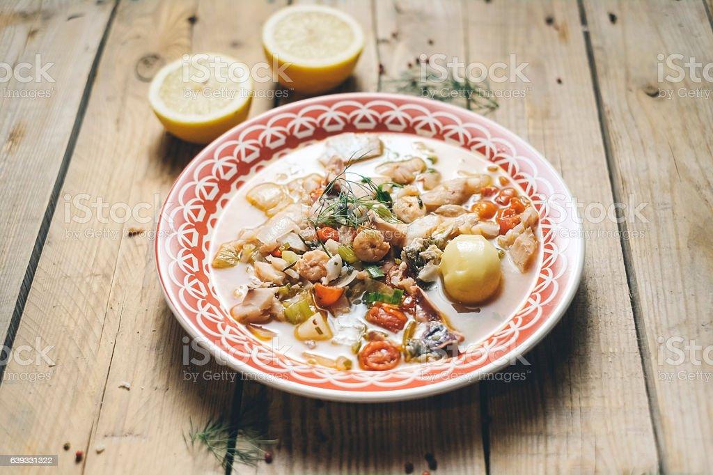 Kakavia, Fish Sea Soup with lemon stock photo