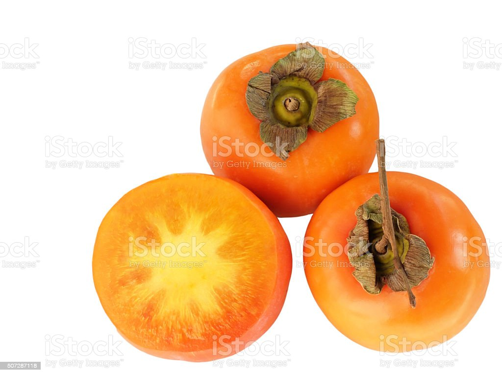 Kaki Fruit-Persimmon on White Bakground. stock photo