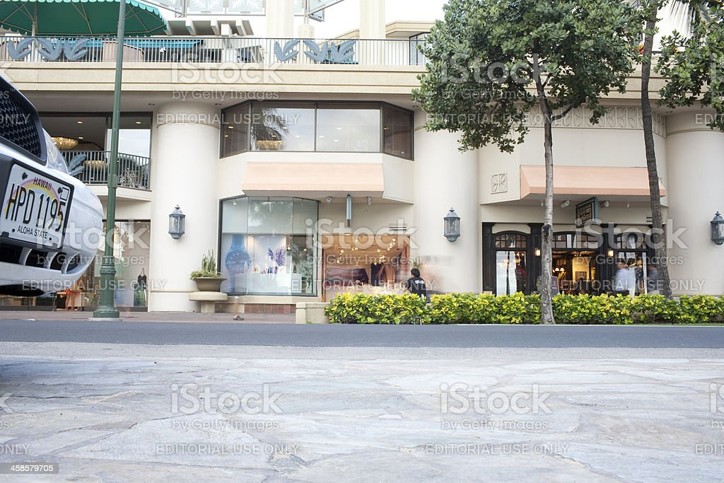 Kalakaua Street in Waikiki Oahu Hawaii royalty-free stock photo