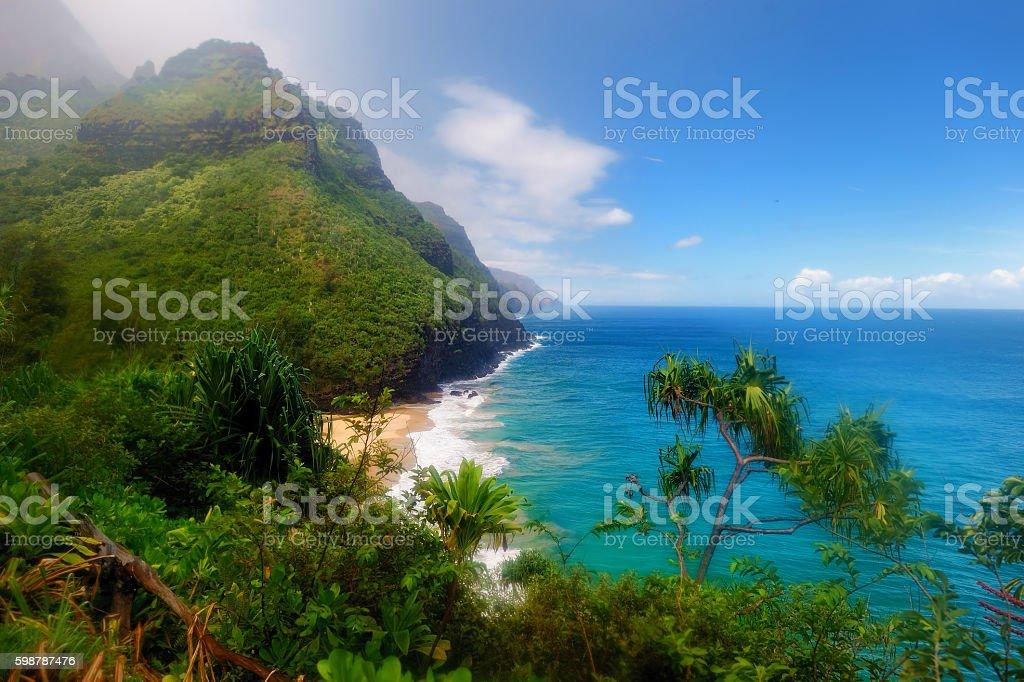 Kalalau trail in Kauai, Hawaii stock photo