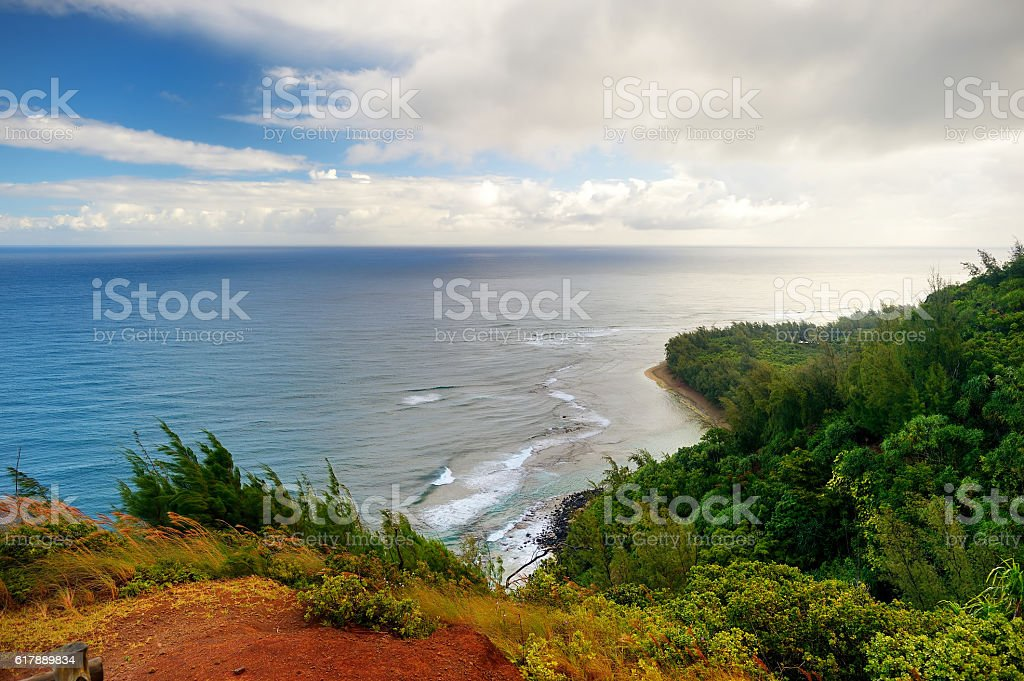 Kalalau trail in Kauai, Hawaii stock photo