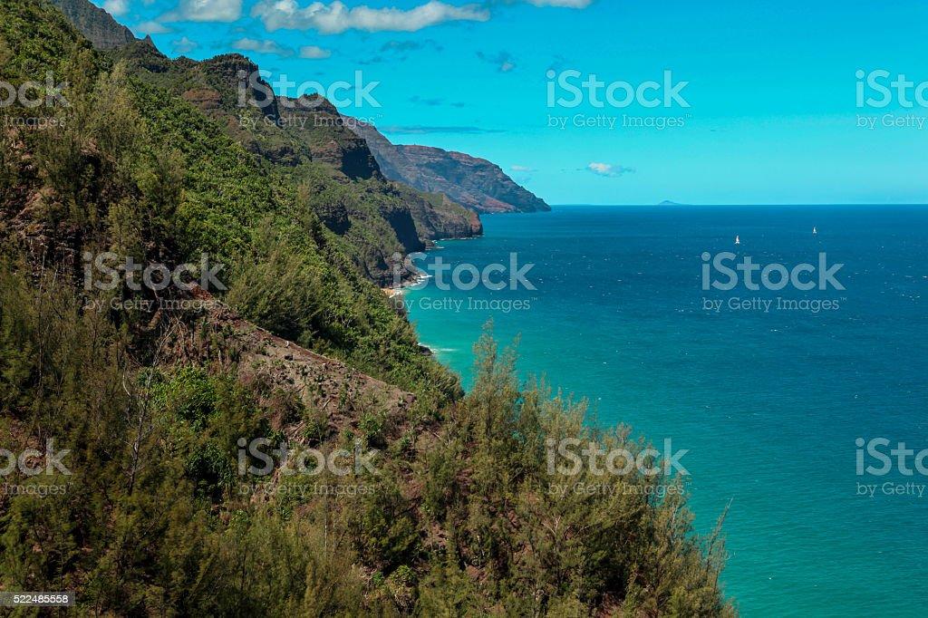 Kalalau trail view stock photo