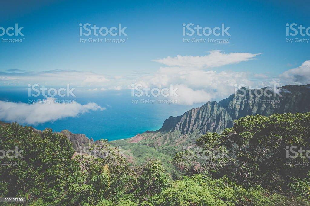 Kalalau Valley and Lookout, Napali Coast State Park, Kauai, Hawaii stock photo