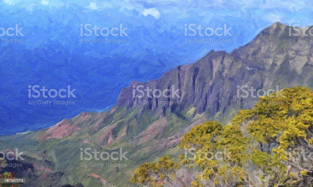 Kalalau Valley Oil Painting royalty-free stock photo