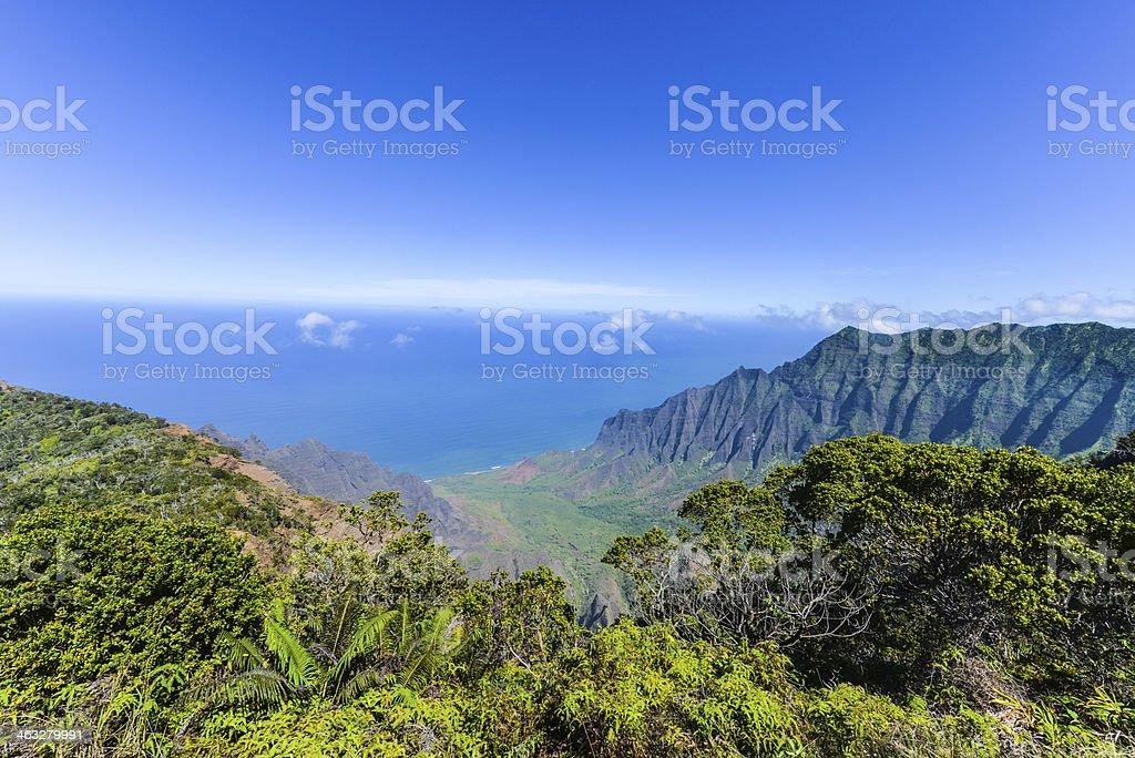 Kalalau Valley Panorama stock photo