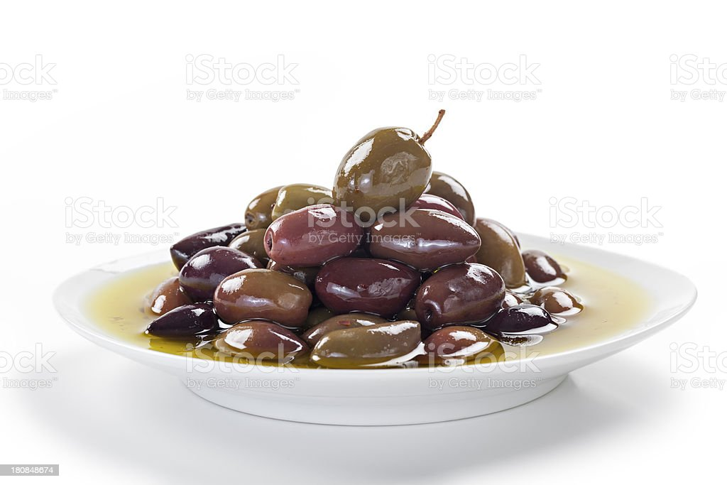 Kalamata olives in olive oil royalty-free stock photo