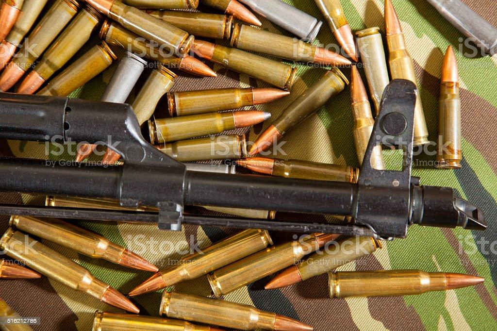 Kalashnikov AK 47 on Multicam background stock photo